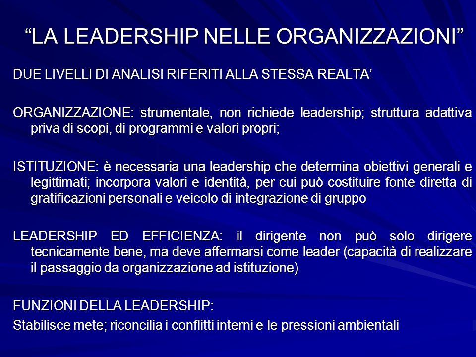 LA LEADERSHIP NELLE ORGANIZZAZIONI DUE LIVELLI DI ANALISI RIFERITI ALLA STESSA REALTA ORGANIZZAZIONE: strumentale, non richiede leadership; struttura