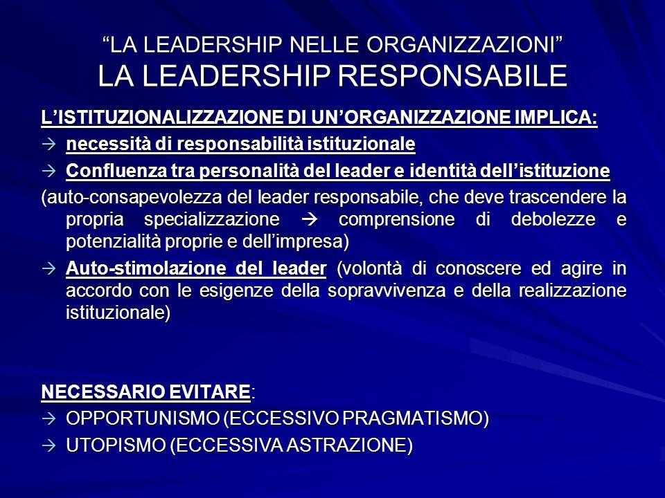LISTITUZIONALIZZAZIONE DI UNORGANIZZAZIONE IMPLICA: necessità di responsabilità istituzionale necessità di responsabilità istituzionale Confluenza tra