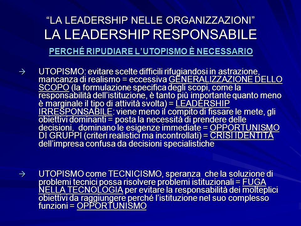 LA LEADERSHIP NELLE ORGANIZZAZIONI LA LEADERSHIP RESPONSABILE PERCHÉ RIPUDIARE LUTOPISMO È NECESSARIO UTOPISMO: evitare scelte difficili rifugiandosi