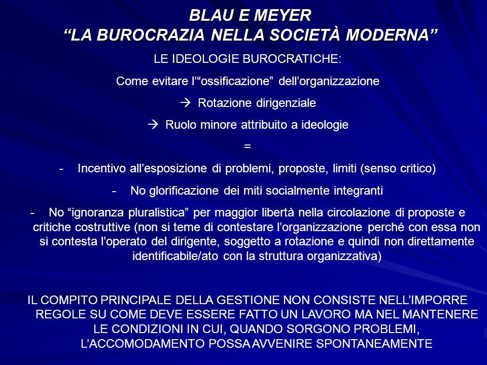 BLAU E MEYER LA BUROCRAZIA NELLA SOCIETÀ MODERNA LE IDEOLOGIE BUROCRATICHE: Come evitare lossificazione dellorganizzazione Rotazione dirigenziale Ruol
