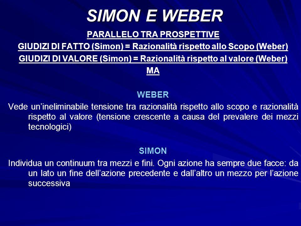 PARALLELO TRA PROSPETTIVE GIUDIZI DI FATTO (Simon) = Razionalità rispetto allo Scopo (Weber) GIUDIZI DI VALORE (Simon) = Razionalità rispetto al valor
