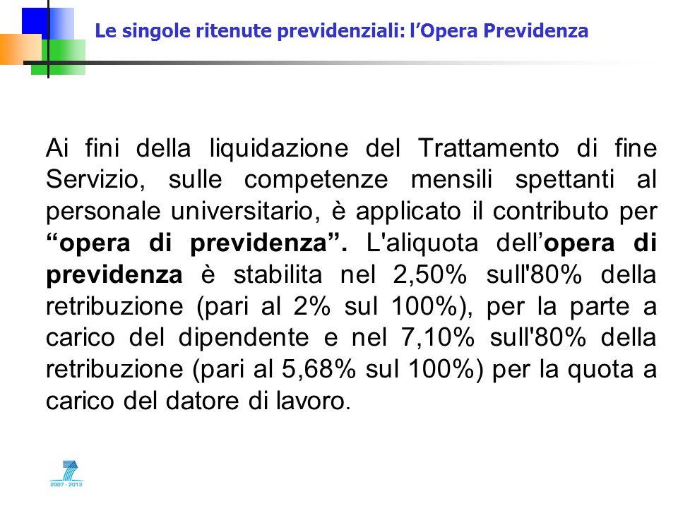 Le singole ritenute previdenziali: lOpera Previdenza Ai fini della liquidazione del Trattamento di fine Servizio, sulle competenze mensili spettanti a