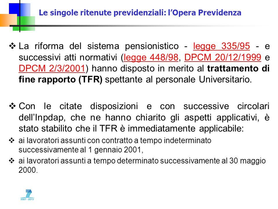 Le singole ritenute previdenziali: lOpera Previdenza La riforma del sistema pensionistico - legge 335/95 - e successivi atti normativi (legge 448/98,