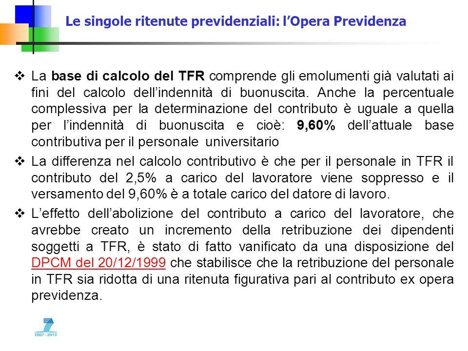 Le singole ritenute previdenziali: lOpera Previdenza La base di calcolo del TFR comprende gli emolumenti già valutati ai fini del calcolo dellindennit