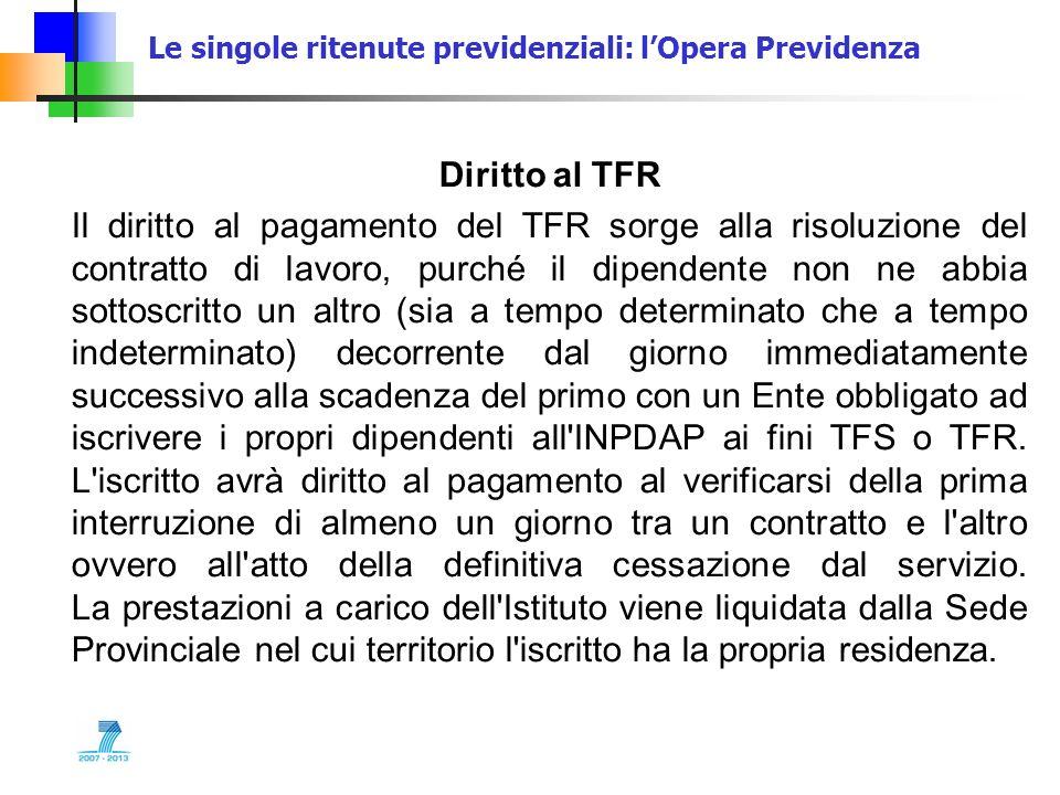 Le singole ritenute previdenziali: lOpera Previdenza Diritto al TFR Il diritto al pagamento del TFR sorge alla risoluzione del contratto di lavoro, pu