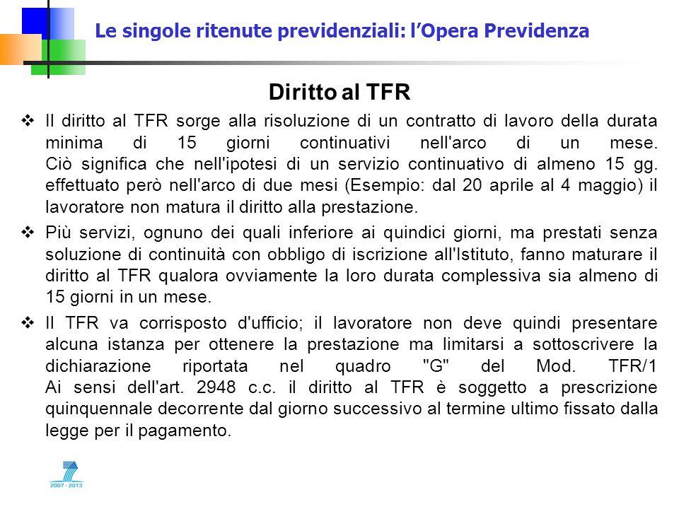 Le singole ritenute previdenziali: lOpera Previdenza Diritto al TFR Il diritto al TFR sorge alla risoluzione di un contratto di lavoro della durata mi