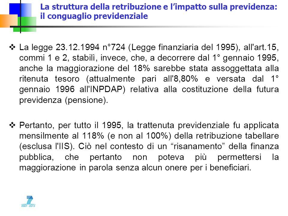 La struttura della retribuzione e limpatto sulla previdenza: il conguaglio previdenziale La legge 23.12.1994 n°724 (Legge finanziaria del 1995), all'a