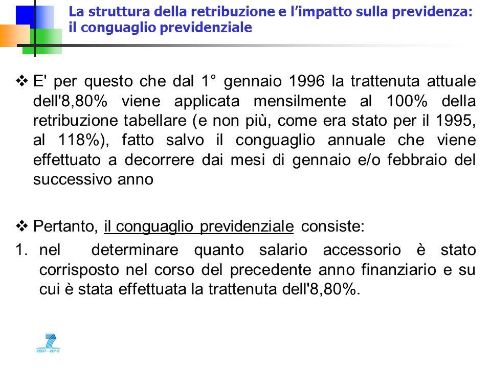 La struttura della retribuzione e limpatto sulla previdenza: il conguaglio previdenziale E' per questo che dal 1° gennaio 1996 la trattenuta attuale d