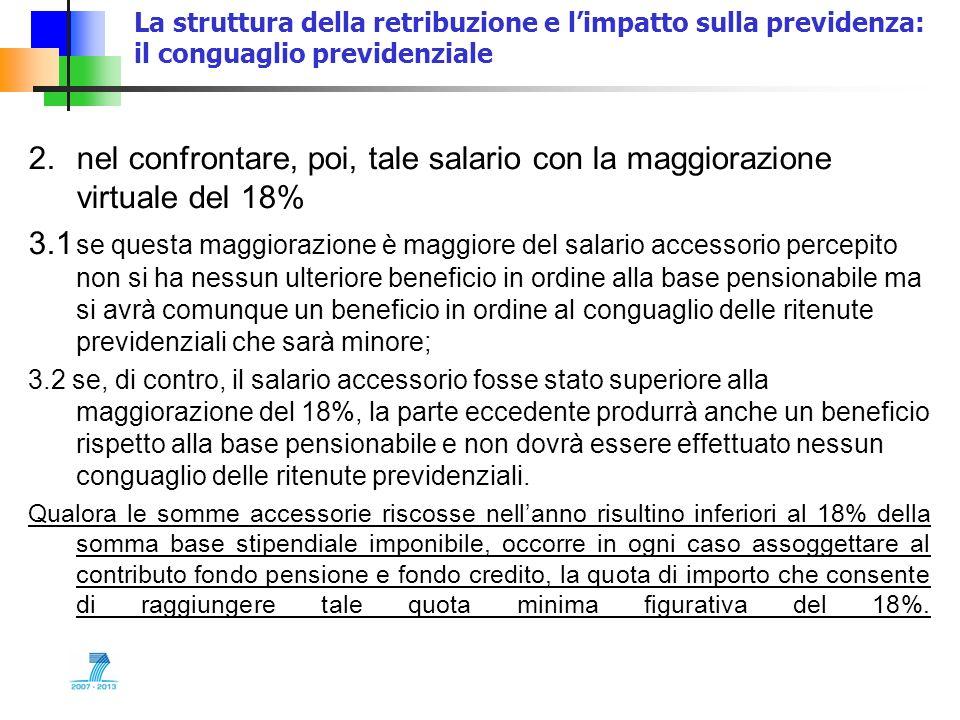 La struttura della retribuzione e limpatto sulla previdenza: il conguaglio previdenziale 2.nel confrontare, poi, tale salario con la maggiorazione vir
