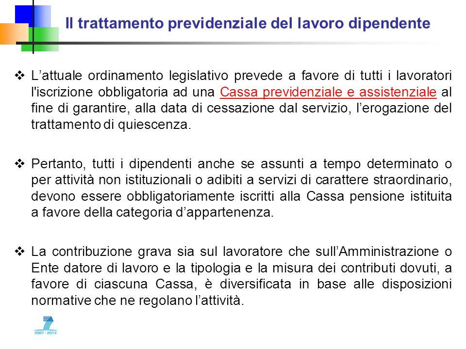 Il trattamento previdenziale del lavoro dipendente Lattuale ordinamento legislativo prevede a favore di tutti i lavoratori l'iscrizione obbligatoria a
