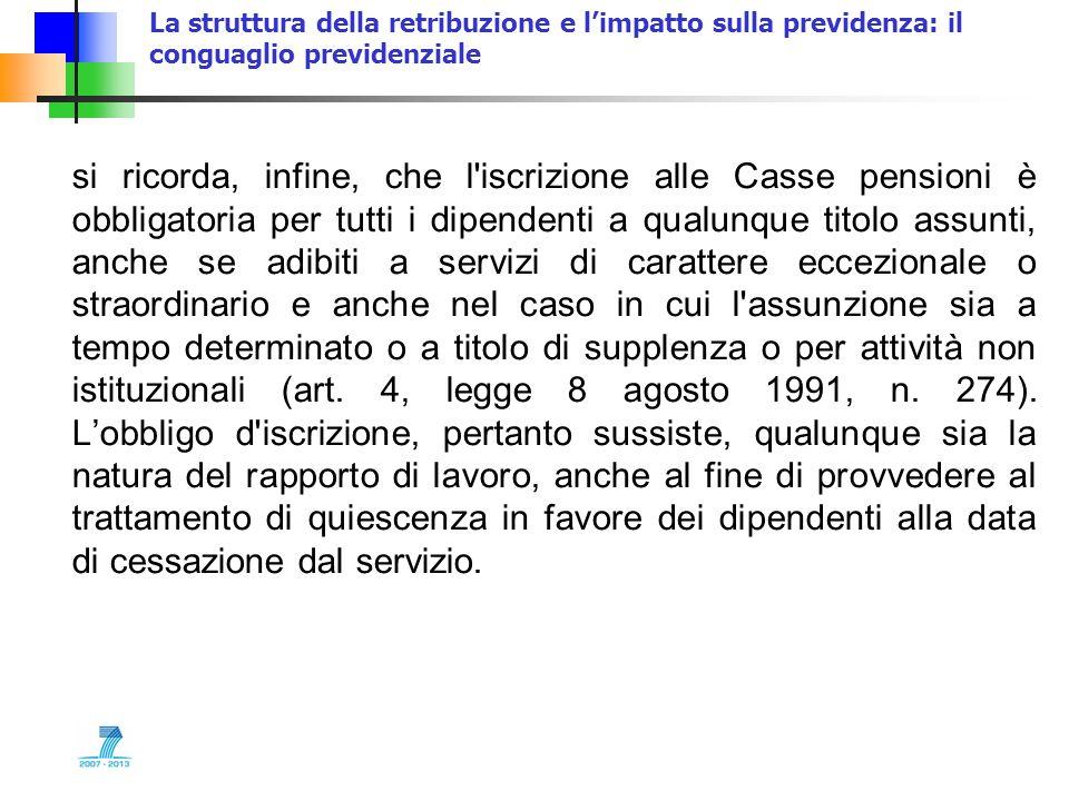 La struttura della retribuzione e limpatto sulla previdenza: il conguaglio previdenziale si ricorda, infine, che l'iscrizione alle Casse pensioni è ob