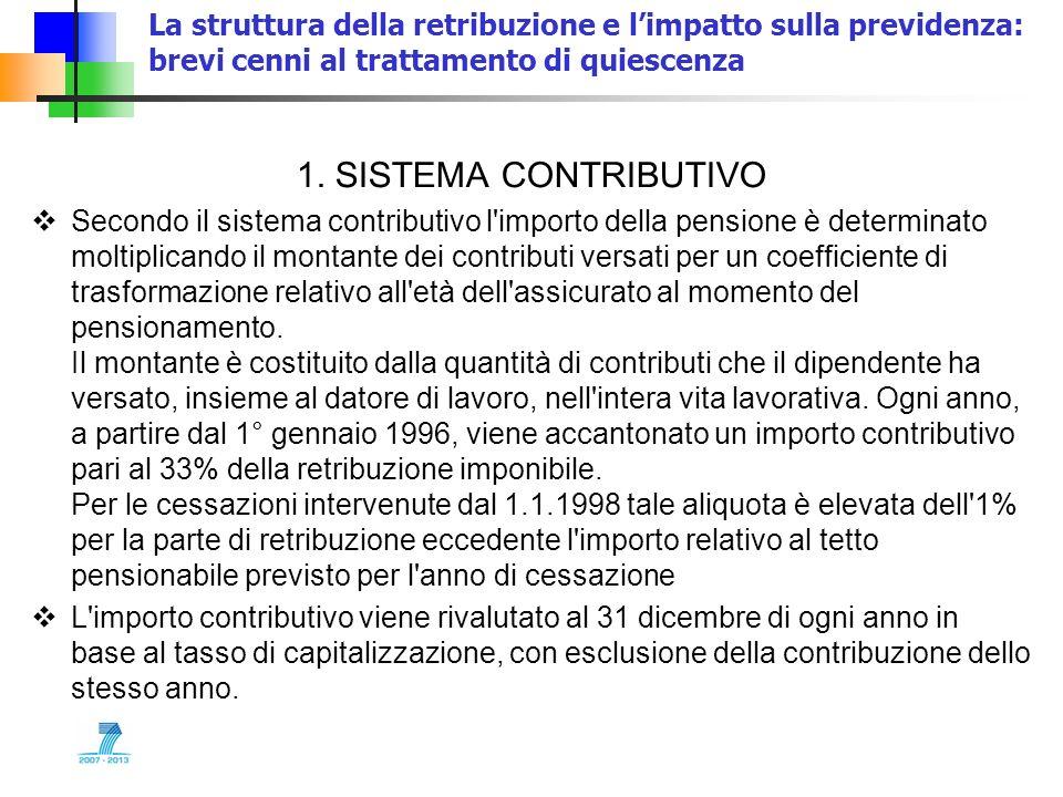 La struttura della retribuzione e limpatto sulla previdenza: brevi cenni al trattamento di quiescenza 1. SISTEMA CONTRIBUTIVO Secondo il sistema contr