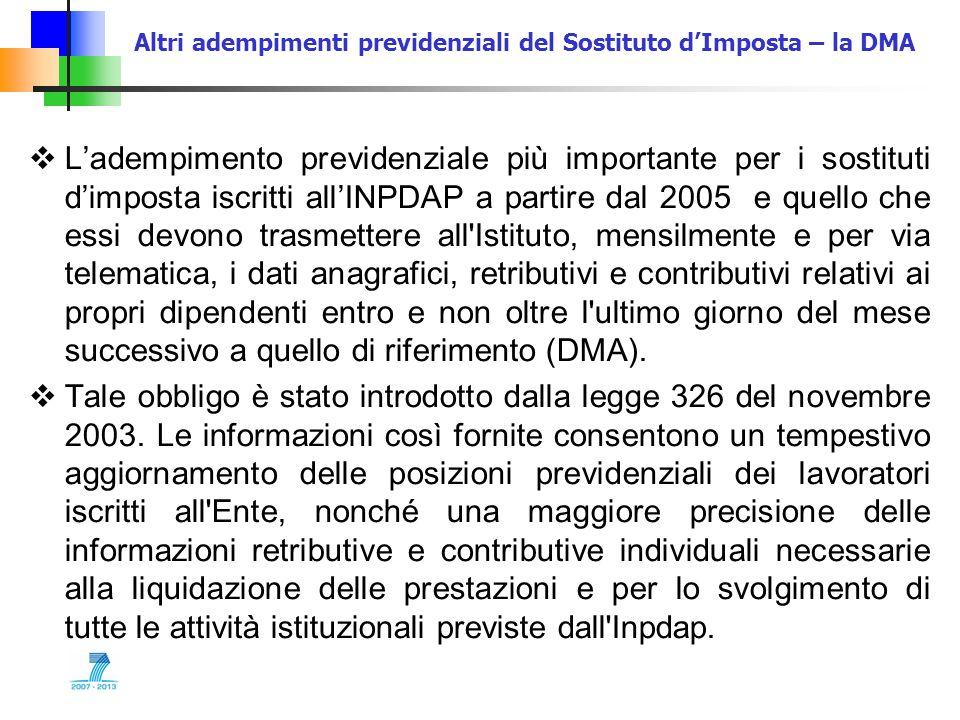 Altri adempimenti previdenziali del Sostituto dImposta – la DMA Ladempimento previdenziale più importante per i sostituti dimposta iscritti allINPDAP