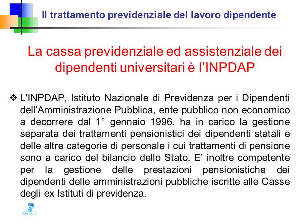 Il trattamento previdenziale del lavoro dipendente La cassa previdenziale ed assistenziale dei dipendenti universitari è lINPDAP L'INPDAP, Istituto Na