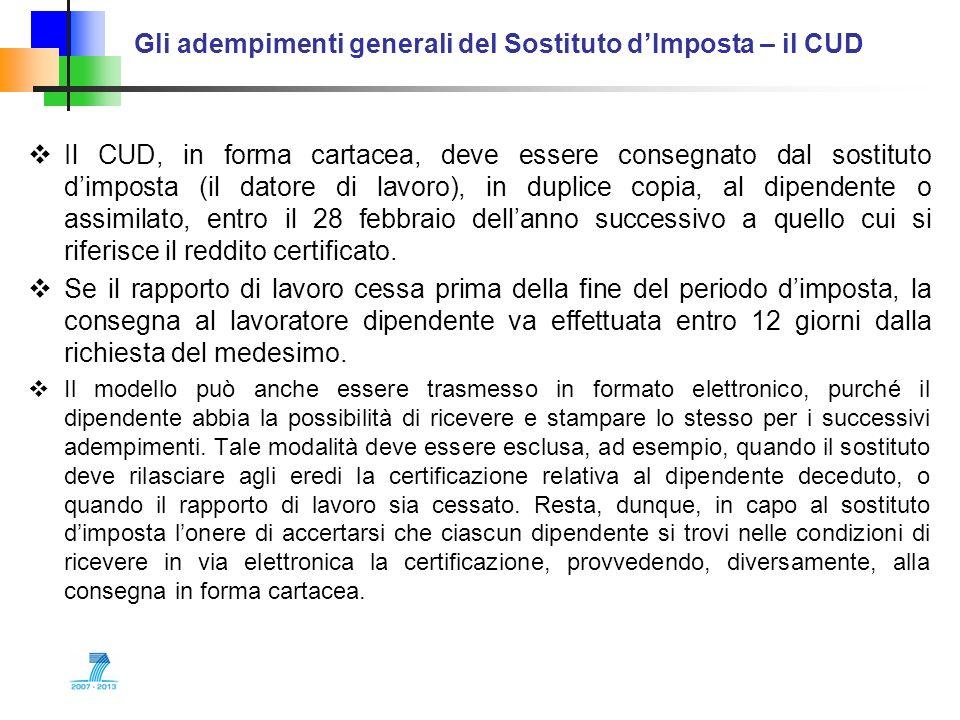 Gli adempimenti generali del Sostituto dImposta – il CUD Il CUD, in forma cartacea, deve essere consegnato dal sostituto dimposta (il datore di lavoro