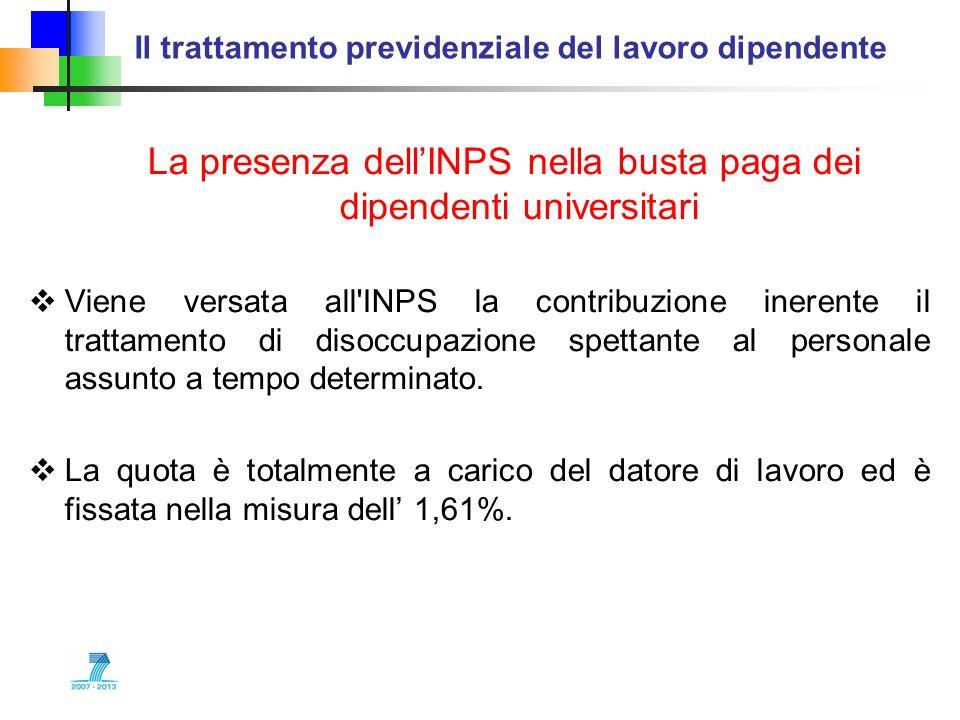 Il trattamento previdenziale del lavoro dipendente La presenza dellINPS nella busta paga dei dipendenti universitari Viene versata all'INPS la contrib