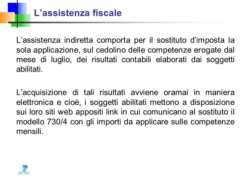 Lassistenza fiscale Lassistenza indiretta comporta per il sostituto dimposta la sola applicazione, sul cedolino delle competenze erogate dal mese di l