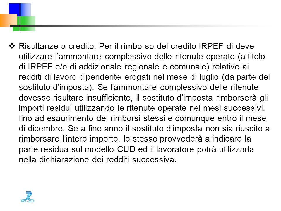 Risultanze a credito: Per il rimborso del credito IRPEF di deve utilizzare lammontare complessivo delle ritenute operate (a titolo di IRPEF e/o di add