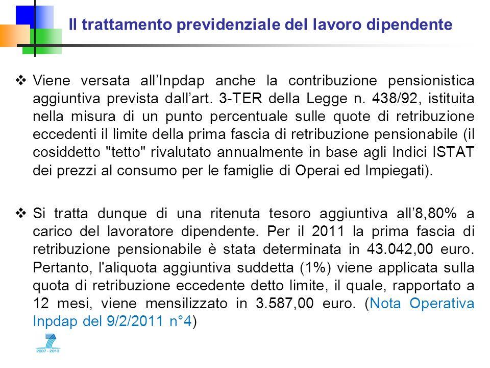 Il trattamento previdenziale del lavoro dipendente Viene versata allInpdap anche la contribuzione pensionistica aggiuntiva prevista dallart. 3-TER del