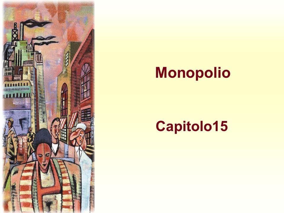 Massimizzazione del profitto nel monopolio u Il monopolista uguaglia il costo marginale al ricavo marginale u Dalla curva di domanda ottiene poi il prezzo al quale i consumatori compreranno quella quantità