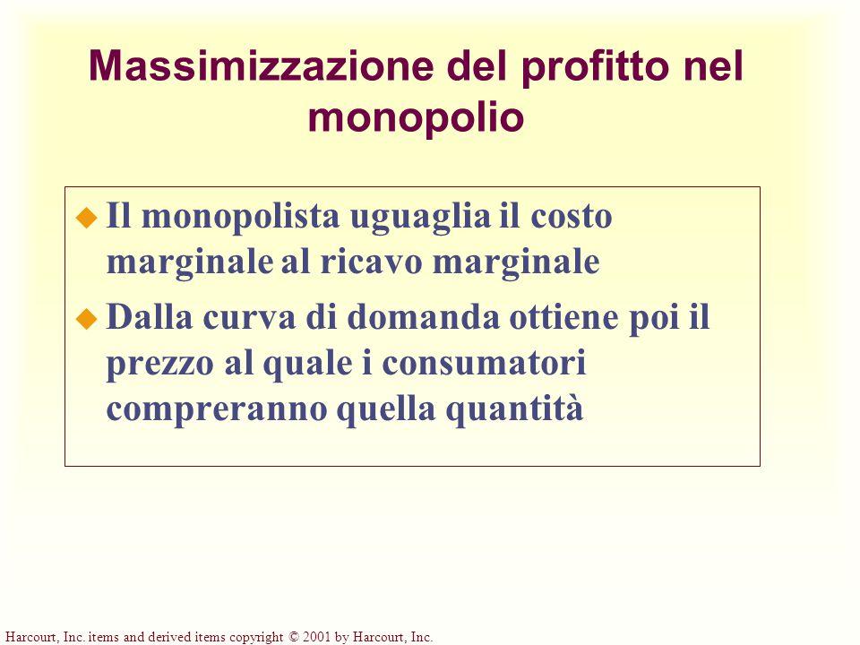Massimizzazione del profitto nel monopolio u Il monopolista uguaglia il costo marginale al ricavo marginale u Dalla curva di domanda ottiene poi il pr