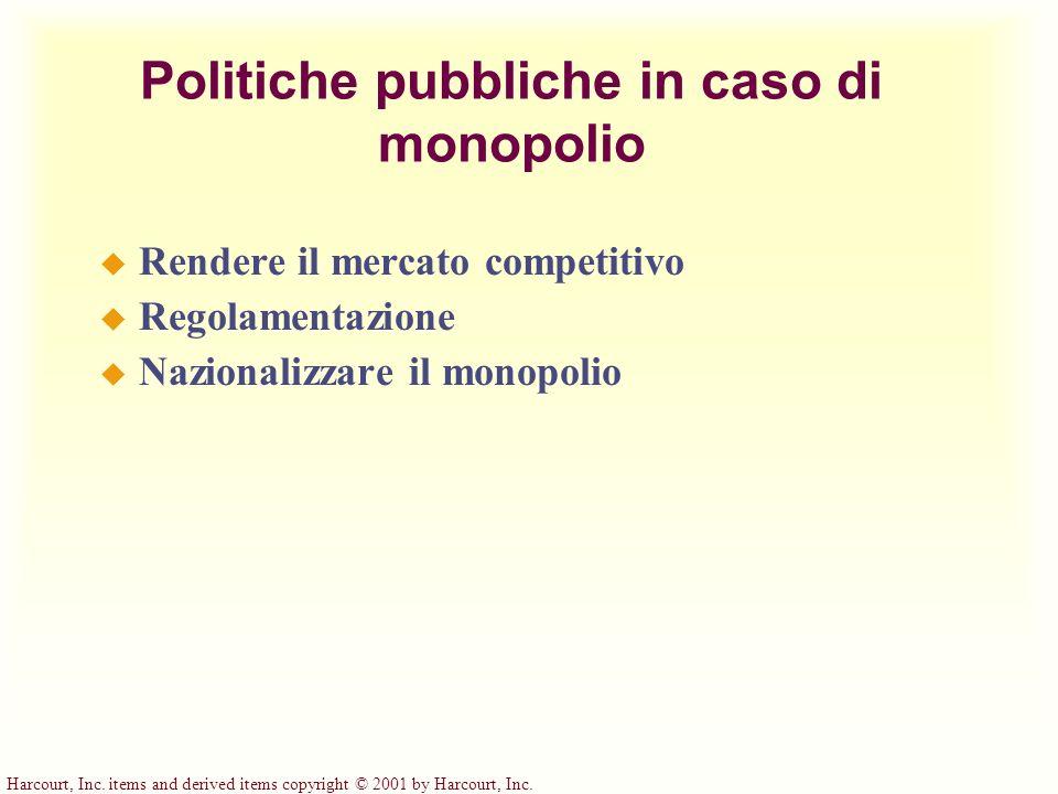 Politiche pubbliche in caso di monopolio u Rendere il mercato competitivo u Regolamentazione u Nazionalizzare il monopolio