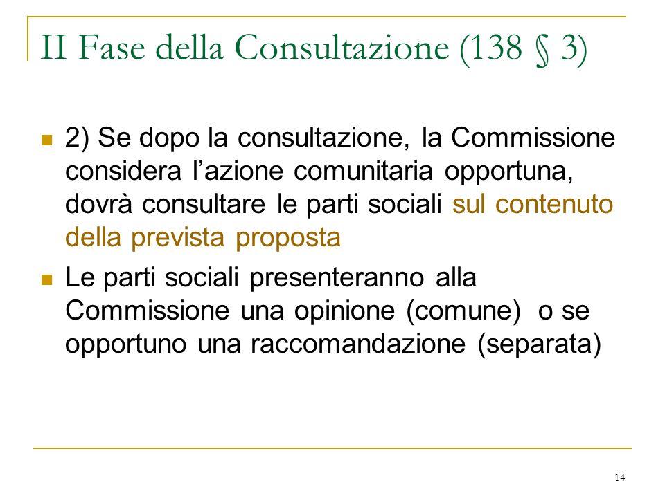 14 II Fase della Consultazione (138 § 3) 2) Se dopo la consultazione, la Commissione considera lazione comunitaria opportuna, dovrà consultare le parti sociali sul contenuto della prevista proposta Le parti sociali presenteranno alla Commissione una opinione (comune) o se opportuno una raccomandazione (separata)