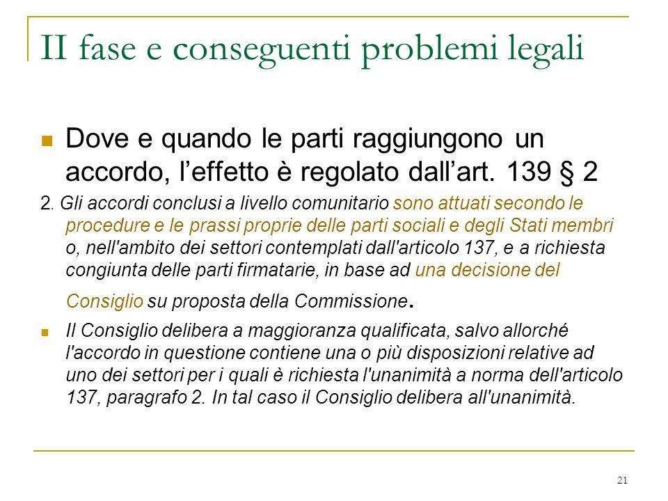 21 II fase e conseguenti problemi legali Dove e quando le parti raggiungono un accordo, leffetto è regolato dallart.