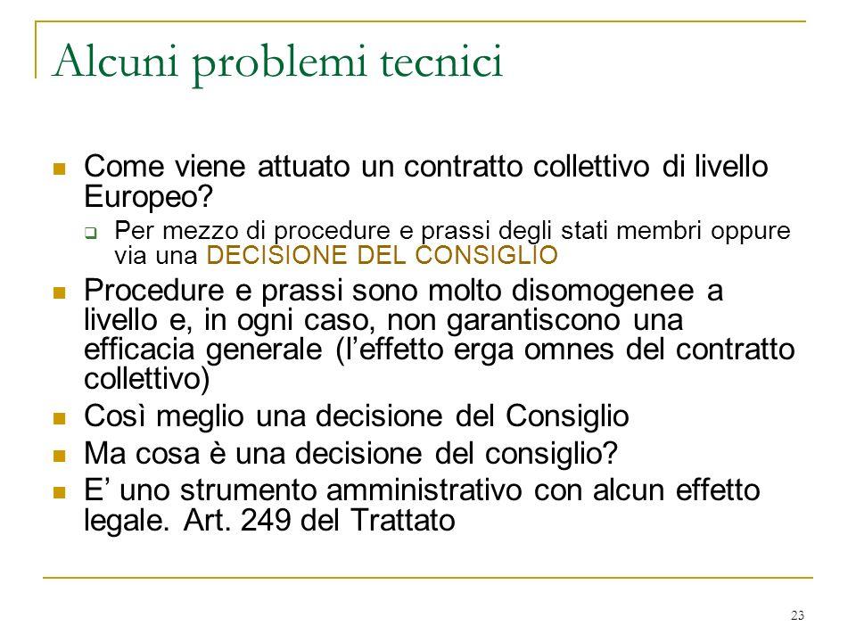 23 Alcuni problemi tecnici Come viene attuato un contratto collettivo di livello Europeo.