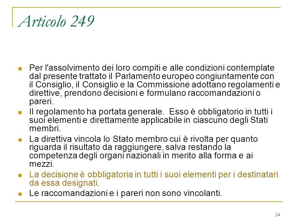 24 Articolo 249 Per l assolvimento dei loro compiti e alle condizioni contemplate dal presente trattato il Parlamento europeo congiuntamente con il Consiglio, il Consiglio e la Commissione adottano regolamenti e direttive, prendono decisioni e formulano raccomandazioni o pareri.