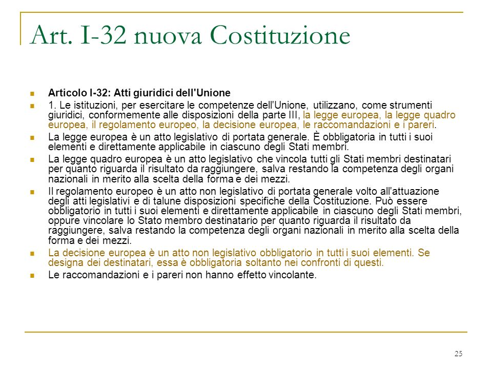 25 Art.I-32 nuova Costituzione Articolo I-32: Atti giuridici dell Unione 1.