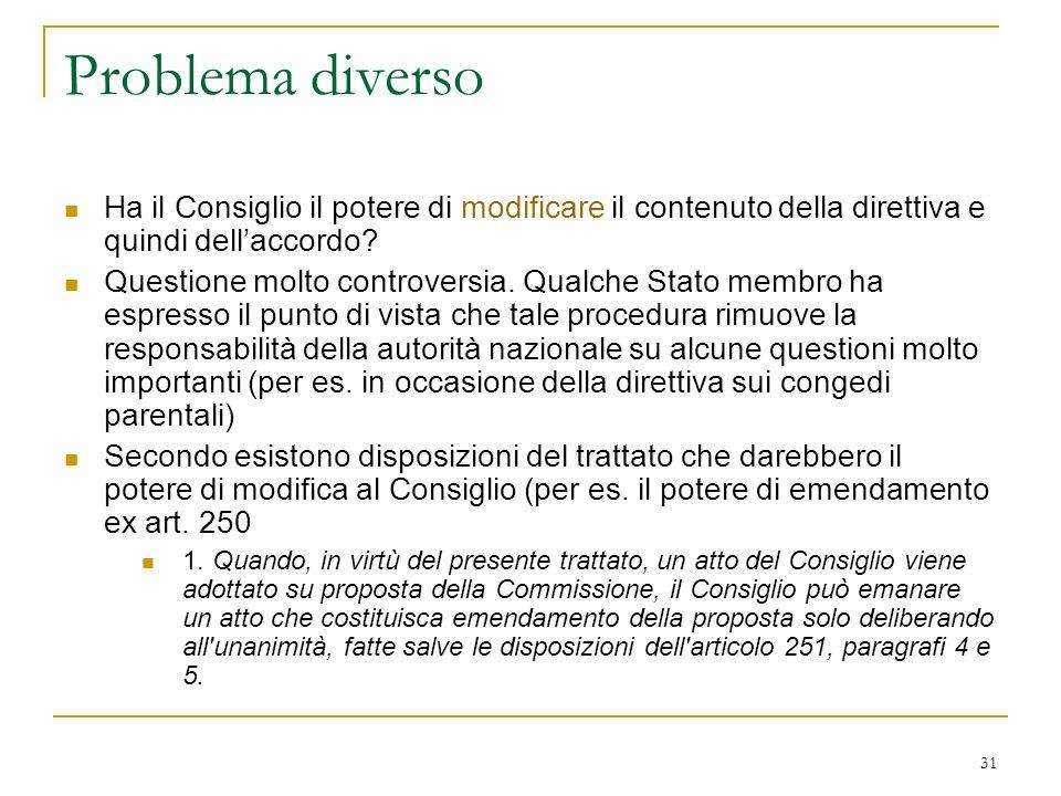 31 Problema diverso Ha il Consiglio il potere di modificare il contenuto della direttiva e quindi dellaccordo.