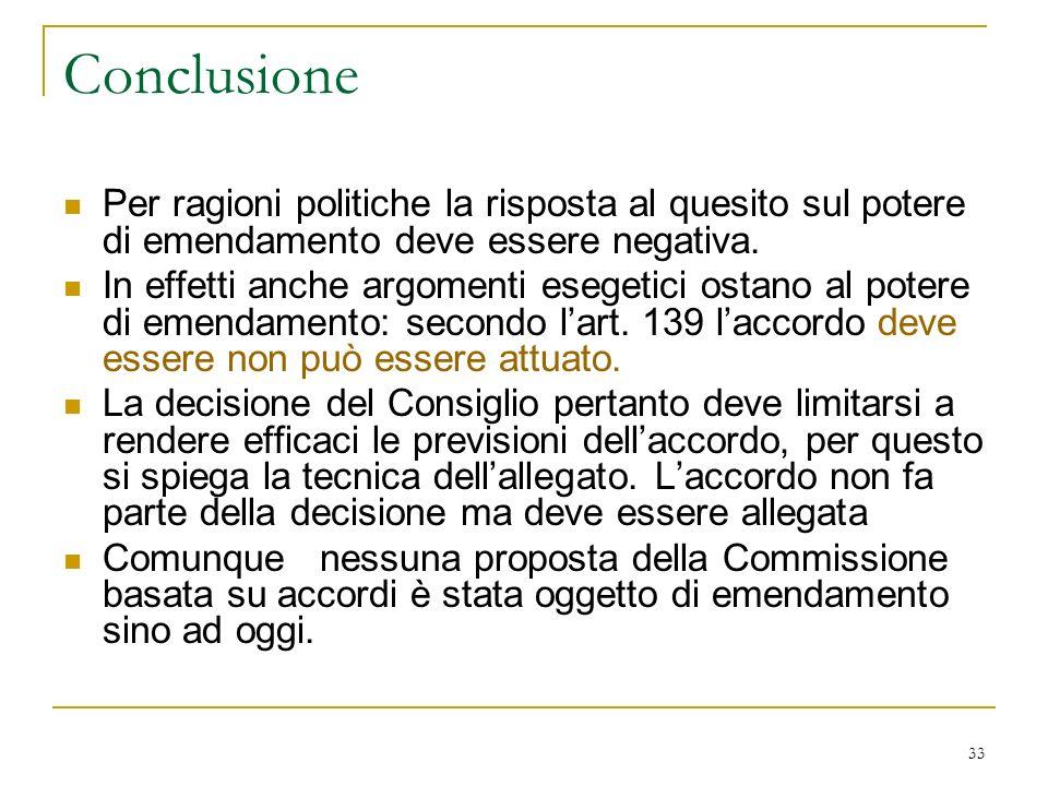 33 Conclusione Per ragioni politiche la risposta al quesito sul potere di emendamento deve essere negativa.
