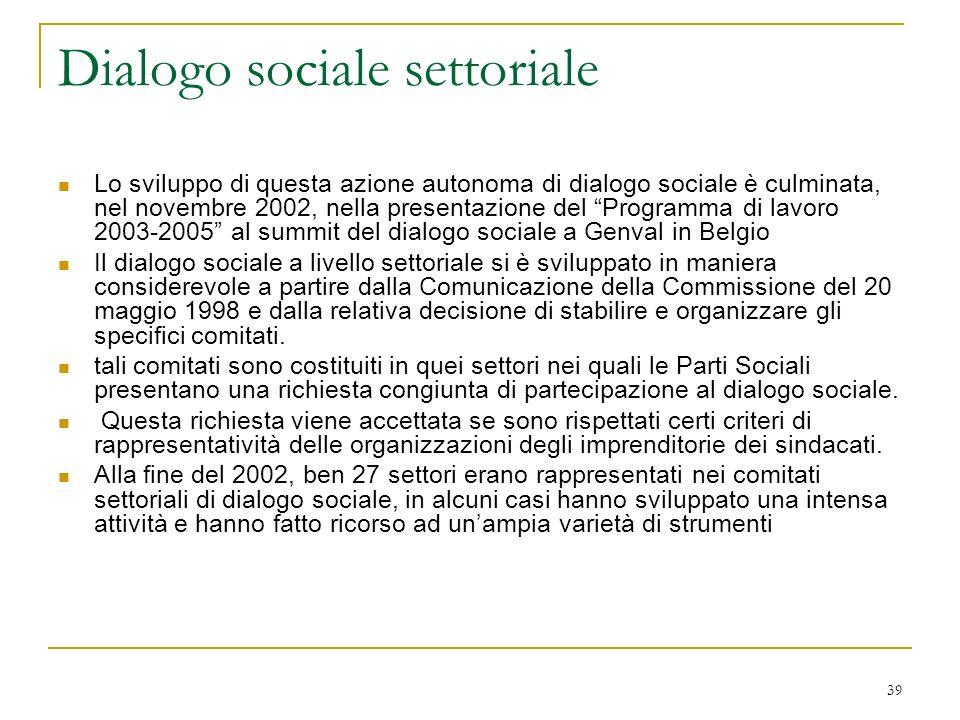 39 Dialogo sociale settoriale Lo sviluppo di questa azione autonoma di dialogo sociale è culminata, nel novembre 2002, nella presentazione del Programma di lavoro 2003-2005 al summit del dialogo sociale a Genval in Belgio Il dialogo sociale a livello settoriale si è sviluppato in maniera considerevole a partire dalla Comunicazione della Commissione del 20 maggio 1998 e dalla relativa decisione di stabilire e organizzare gli specifici comitati.