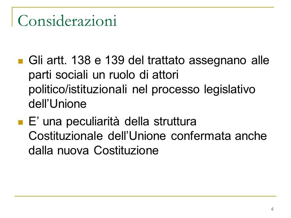 6 Considerazioni Gli artt.
