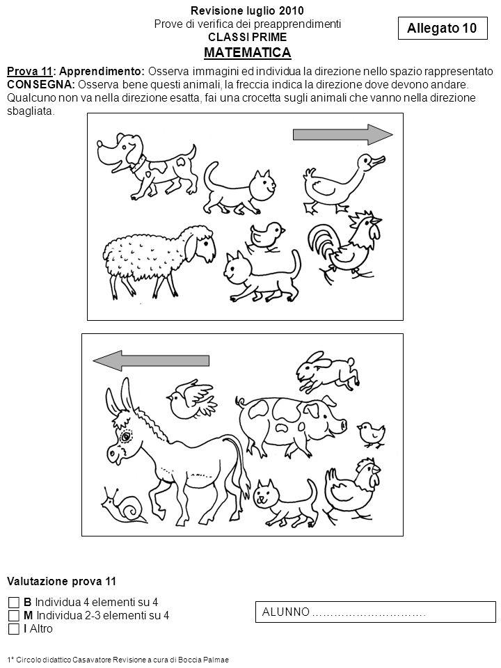Prova 11: Apprendimento: Osserva immagini ed individua la direzione nello spazio rappresentato CONSEGNA: Osserva bene questi animali, la freccia indica la direzione dove devono andare.