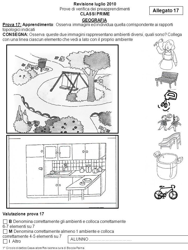 Prova 17: Apprendimento: Osserva immagini ed individua quella corrispondente ai rapporti topologici indicati CONSEGNA: Osserva queste due immagini rap
