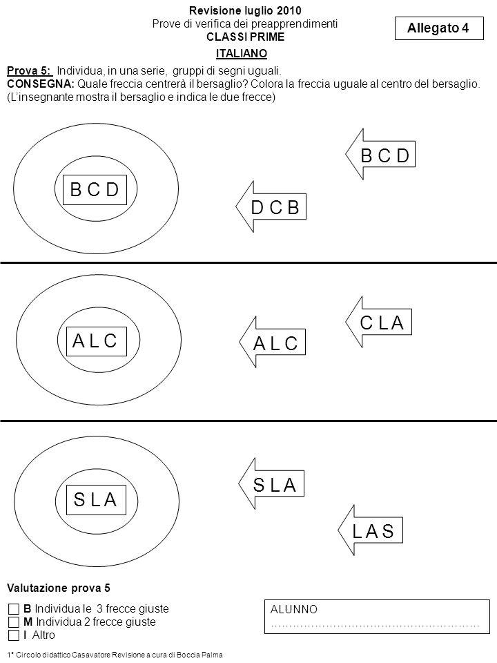 Prova 6: Apprendimento: Completa figure e ritmi CONSEGNA: Ripassa la matita sulle linee tratteggiate e completa le righe con le figure mancanti Allegato 5 Revisione luglio 2010 Prove di verifica dei preapprendimenti CLASSI PRIME ITALIANO Valutazione prova 6 B Completa le figure tratteggiate e quelle mancanti per completare le righe M Completa le figure tratteggiate I Altro ALUNNO ………………………………… 1° Circolo didattico Casavatore Revisione a cura di Boccia Palma