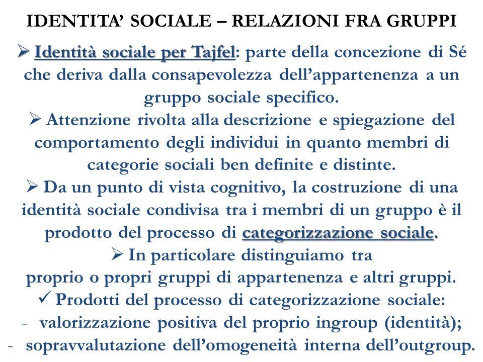 Identità sociale per Tajfel Identità sociale per Tajfel: parte della concezione di Sé che deriva dalla consapevolezza dellappartenenza a un gruppo soc