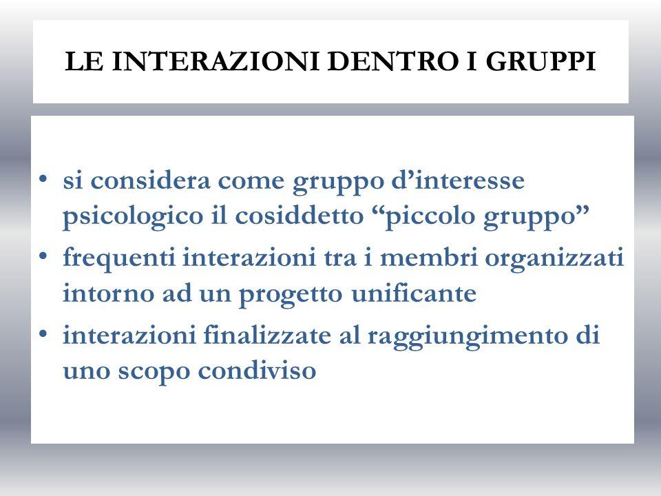 LE INTERAZIONI DENTRO I GRUPPI si considera come gruppo dinteresse psicologico il cosiddetto piccolo gruppo frequenti interazioni tra i membri organiz