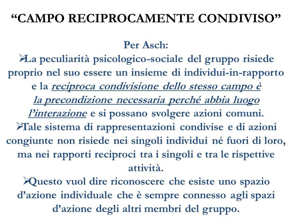 CAMPO RECIPROCAMENTE CONDIVISO Per Asch: La peculiarità psicologico-sociale del gruppo risiede proprio nel suo essere un insieme di individui-in-rappo
