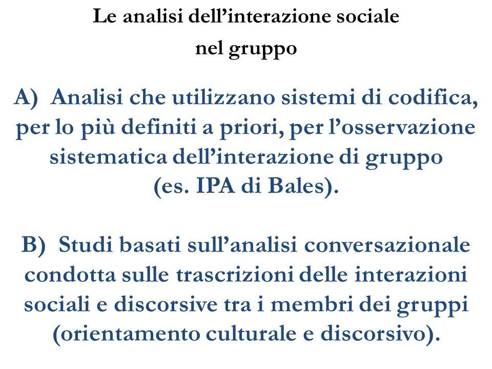 A) Analisi che utilizzano sistemi di codifica, per lo più definiti a priori, per losservazione sistematica dellinterazione di gruppo (es. IPA di Bales