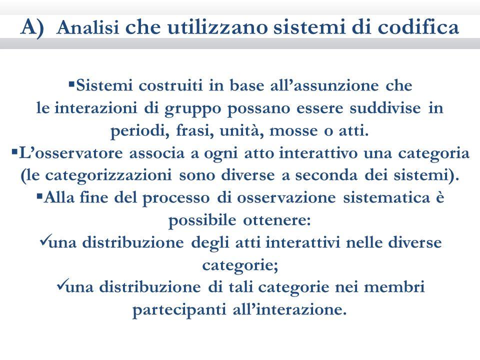 A) Analisi che utilizzano sistemi di codifica Sistemi costruiti in base allassunzione che le interazioni di gruppo possano essere suddivise in periodi