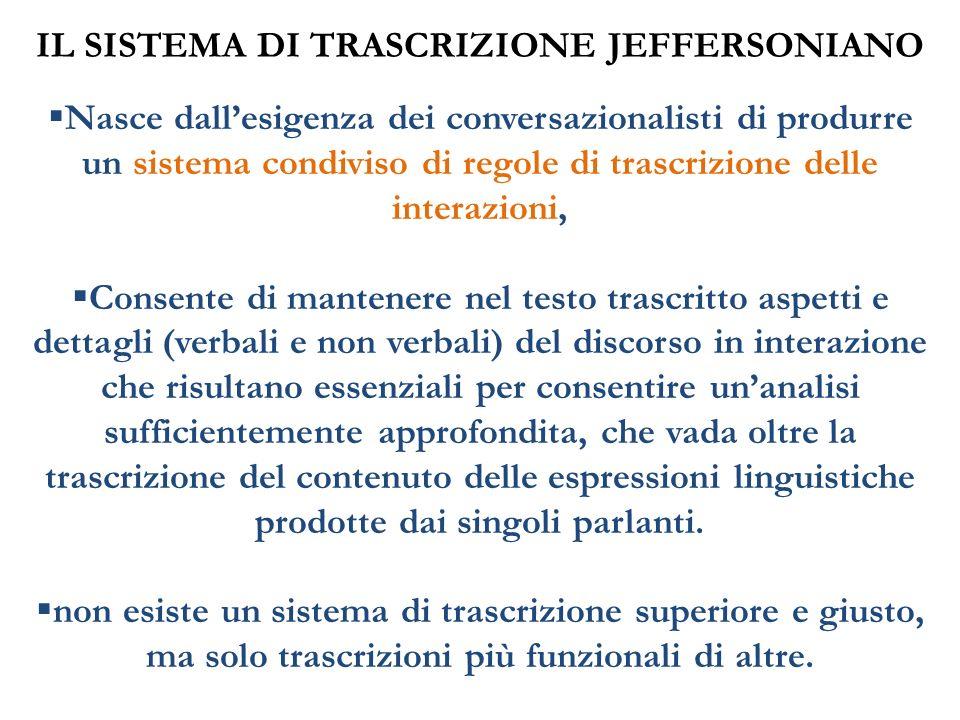IL SISTEMA DI TRASCRIZIONE JEFFERSONIANO Nasce dallesigenza dei conversazionalisti di produrre un sistema condiviso di regole di trascrizione delle in