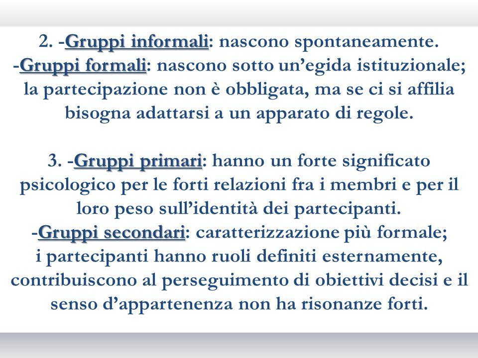 Gruppi informali 2. -Gruppi informali: nascono spontaneamente. Gruppi formali -Gruppi formali: nascono sotto unegida istituzionale; la partecipazione