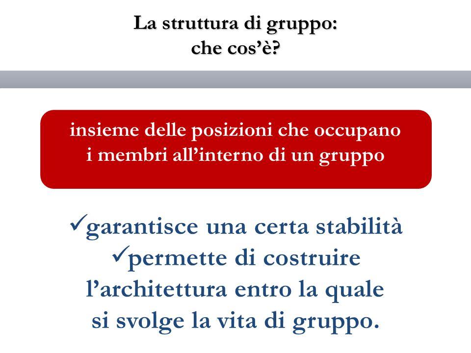 La struttura di gruppo: che cosè? garantisce una certa stabilità permette di costruire larchitettura entro la quale si svolge la vita di gruppo. insie