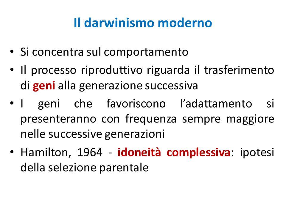 Il darwinismo moderno Si concentra sul comportamento Il processo riproduttivo riguarda il trasferimento di geni alla generazione successiva I geni che