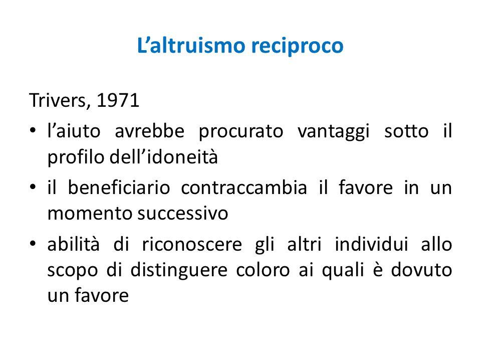 Laltruismo reciproco Trivers, 1971 laiuto avrebbe procurato vantaggi sotto il profilo dellidoneità il beneficiario contraccambia il favore in un momen