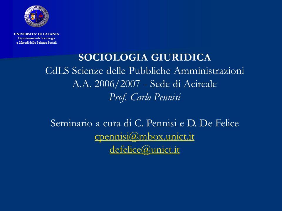 Riferimenti Bibliografici V.Ferrari, Funzioni del diritto, Bari Laterza, 1997 V.