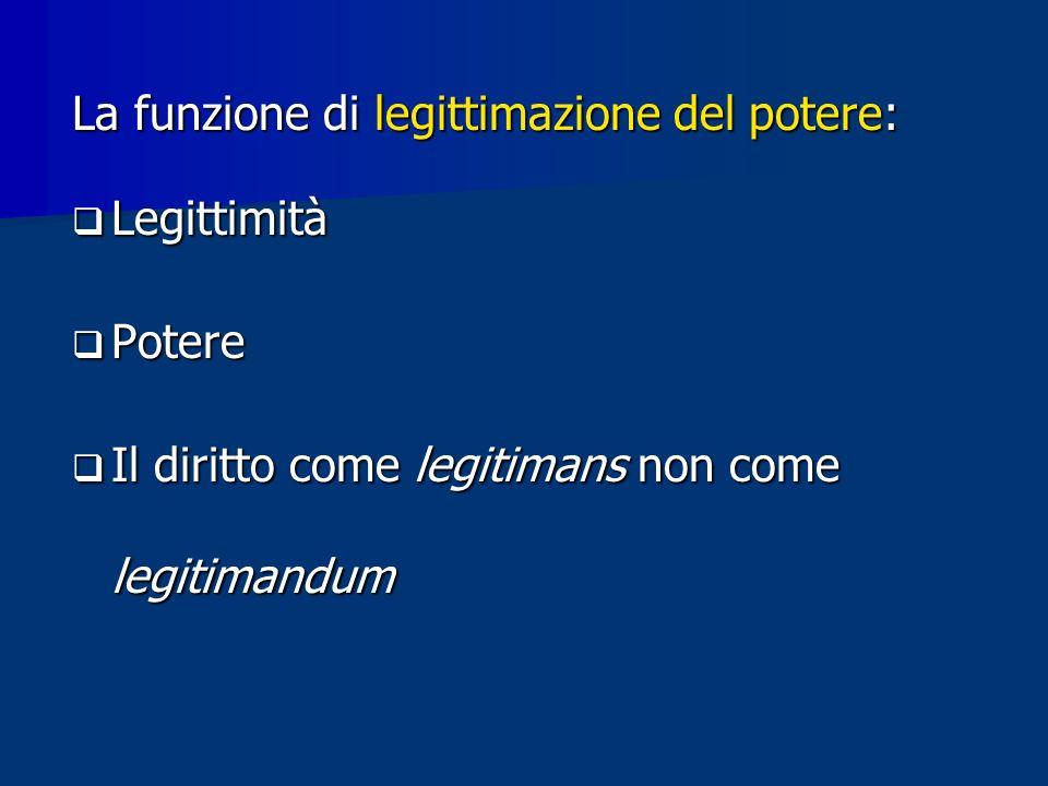 La funzione di legittimazione del potere: Legittimità Legittimità Potere Potere Il diritto come legitimans non come legitimandum Il diritto come legitimans non come legitimandum